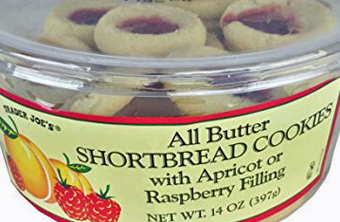 Trader Joe's All Butter Shortbread Cookies with Apricot/Raspberry Filling