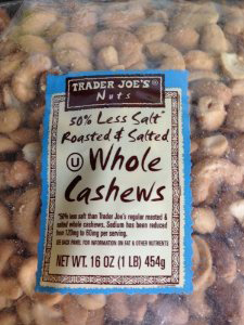 Trader Joe's 50% Less Salt Roasted & Salted Whole Cashews