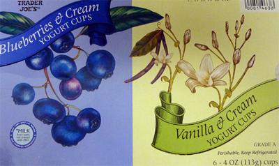 Trader Joe's Blueberries & Cream/Vanilla & Cream Yogurt Cups