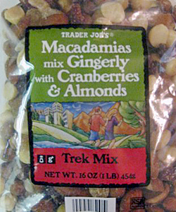 Trader Joe's Macadamias Mix Gingerly with Cranberries & Almonds Trek Mix