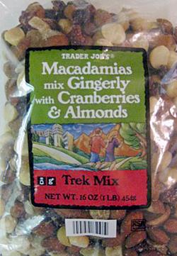 Trader Joe's Macadamias Mix Gingerly with Cranberries & Almonds Trek Mix