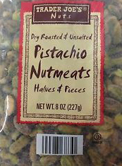 Trader Joe's Dry Roasted & Unsalted Pistachio Nutmeats Halves & Pieces