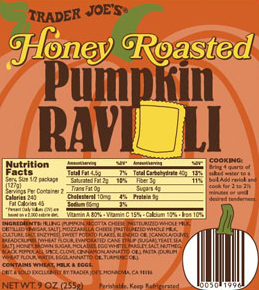 Trader Joe's Honey Roasted Pumpkin Ravioli