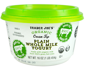 Trader Joe's Organic Cream Top Plain Whole Milk Yogurt