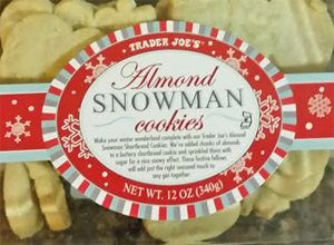 Trader Joe's Almond Snowman Cookies