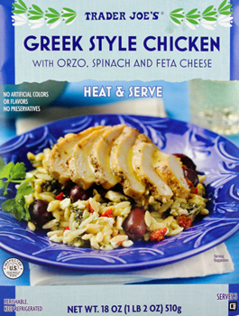 Trader Joe's Greek Style Chicken with Orzo, Spinach, and Feta Cheese