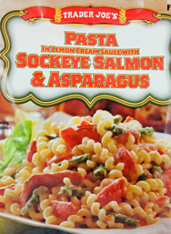 Trader Joe's Pasta with Lemon Cream Sauce with Sockeye Salmon & Asparagus