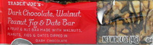 Trader Joe's Dark Chocolate, Walnut, Peanut, Fig & Date Bar
