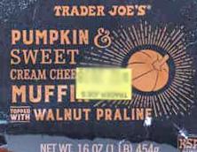 Trader Joe's Pumpkin & Sweet Cream Cheese Muffins Topped with Walnut & Praline