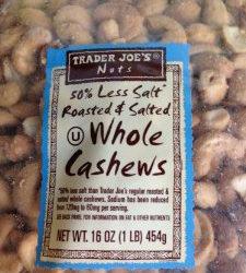 Trader Joe's 50% Less Salt Roasted & Salted Whole Cashews