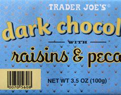 Trader Joe's Dark Chocolate With Raisins & Pecans