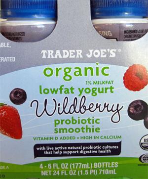 Trader Joe's Organic Lowfat Yogurt Wildberry Probiotic Smoothie