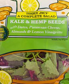 Complete Salad: Kale & Hemp Seeds with Dates, Parmesan Cheese, Almonds & Lemon Vinaigrette