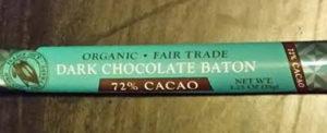 Trader Joe's Organic Fair Trade Dark Chocolate Baton 72% Cacao