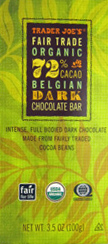 Trader Joe's Fair Trade Organic Belgian Dark Chocolate Bar