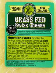 Trader Joe's Grass Fed Swiss Cheese