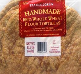 Trader Joe's Handmade 100% Whole Wheat Flour Tortillas