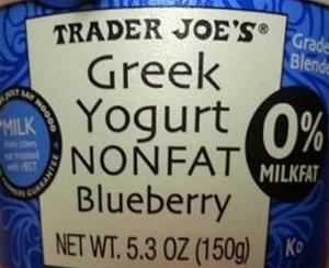 Trader Joe's Nonfat Blueberry Greek Yogurt