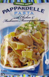 Trader Joe's Pappardelle Pasta with Chicken & Mushroom Mascarpone Sauce