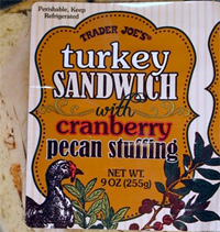 Trader Joe's Turkey Sandwich with Cranberry Pecan Stuffing