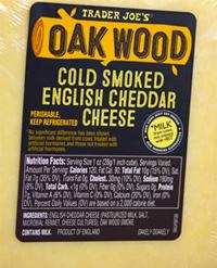 Trader Joe's Oak Wood Cold Smoked English Cheddar Cheese