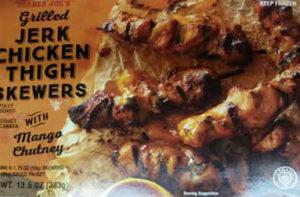 Trader Joe's Jerk Chicken Thigh Skewers with Mango Chutney