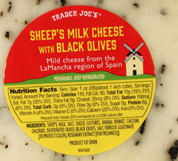 Trader Joe's Sheep's Milk Cheese with Black Olives