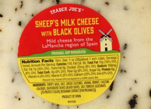 Trader Joe's Sheep's Milk Cheese with Black Olives