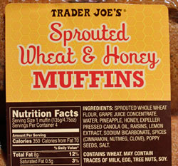 Trader Joe's Sprouted Wheat & Honey Muffins