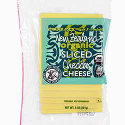 Trader Joe's New Zealand Organic Sliced Cheddar Cheese