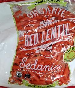 Trader Joe's Organic Red Lentil Sedanini Pasta