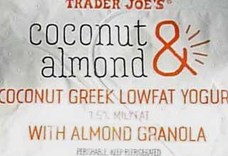 Trader Joe's Coconut & Almond Greek Lowfat Yogurt with Almond Granola