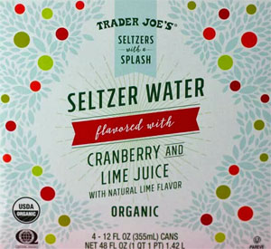 Trader Joe's Organic Cranberry and Lime Juice Seltzer Water
