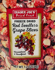 Trader Joe's Freeze Dried Red Seedless Grape Slices