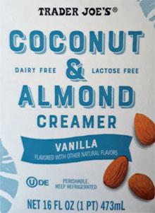 Trader Joe's Coconut & Almond Vanilla Creamer