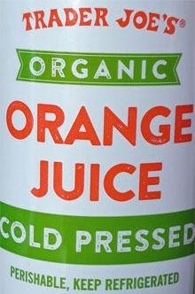 Trader Joe's Organic Cold Pressed Orange Juice