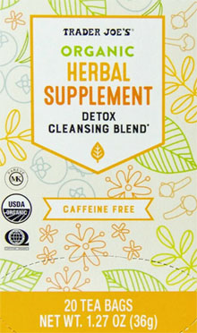 Trader Joe's Organic Herbal Supplement Detox Cleansing Blend Tea