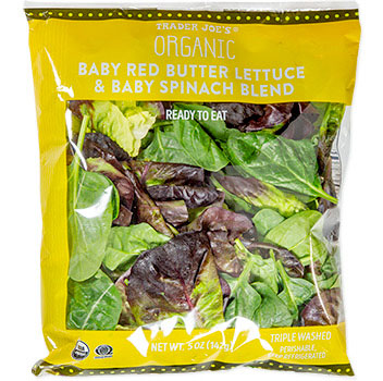 Trader Joe's Organic Baby Red Butter Lettuce & Baby Spinach Blend