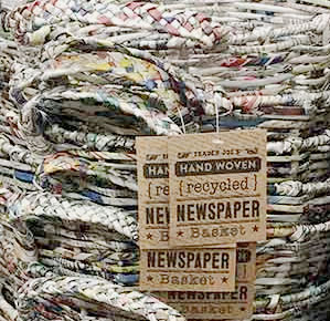 Trader Joe's Hand Woven Recycled Newspaper Basket