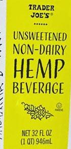 Trader Joe's Unsweetened Non-Dairy Hemp Milk Beverage