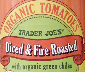 Trader Joe's Diced & Fire Roasted Tomatoes with Green Chiles