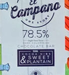 El Campano 78.5% Dark Chocolate Bar with Cocoa Nibs & Sweet Plaintain