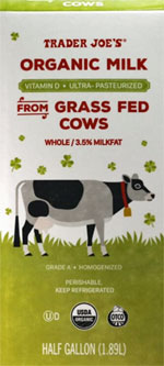Trader Joe's Organic Milk from Grass Fed Cows