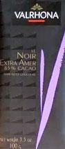Valrhona Le Noir Extra Amer 85% Cacao Dark Chocolate Bars