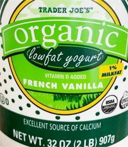 Trader Joe's Organic Low Fat French Vanilla Yogurt