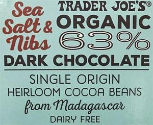 Trader Joe's Organic 63% Dark Chocolate Sea Salt & Nibs