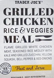 Trader Joe's Grilled Chicken Rice & Veggies Meal