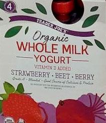 Trader Joe's Organic Whole Milk Yogurt (Strawberry, Beet, and Berry)