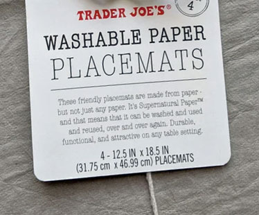 Trader Joe's Washable Paper Placemats