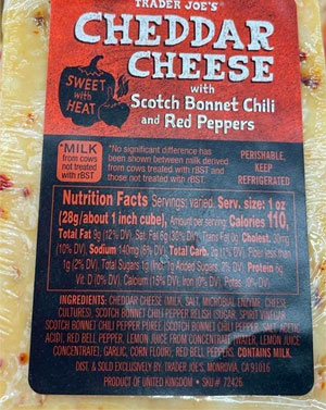 Trader Joe's Cheddar Cheese with Scotch Bonnet Chili & Red Peppers